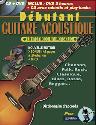 METHODE DEBUTANT GUITARE ACOUSTIQUE + CD (et MP3) + DVD